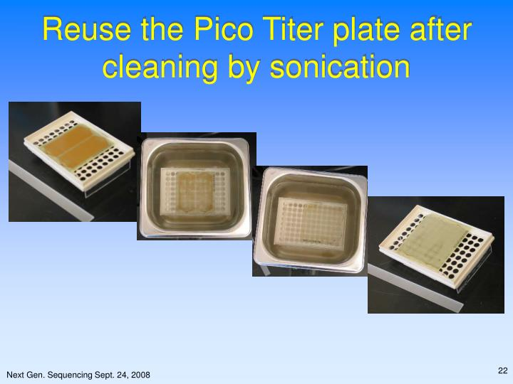 Reuse the Pico Titer plate after cleaning by sonication