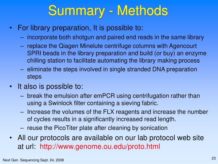 Summary - Methods