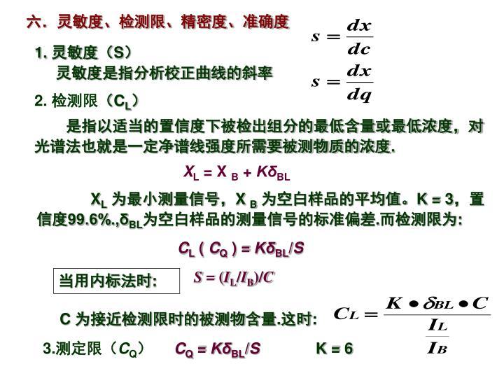 六.灵敏度、检测限、精密度、准确度