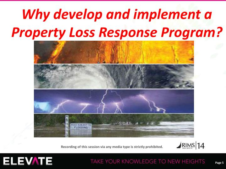 Why develop and implement a Property Loss Response Program?
