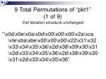 9 total permutations of pkt1 1 of 9 first iteration structure unchanged