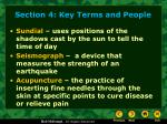 section 4 key terms and people