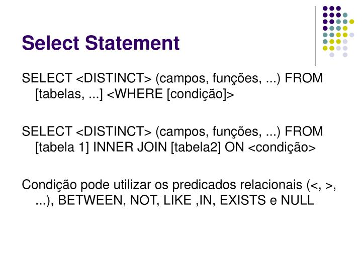Select Statement