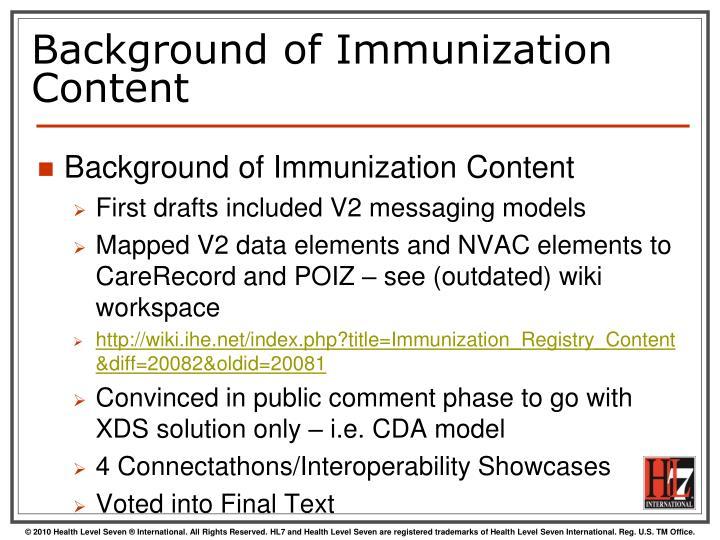 Background of Immunization Content
