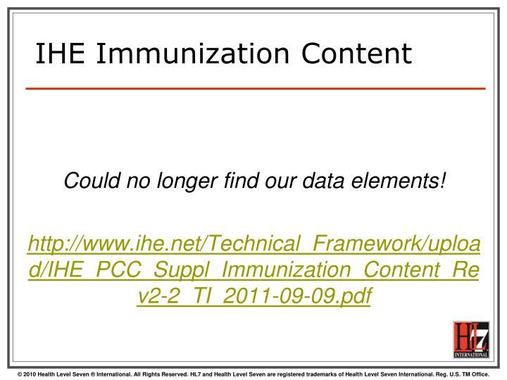 IHE Immunization Content