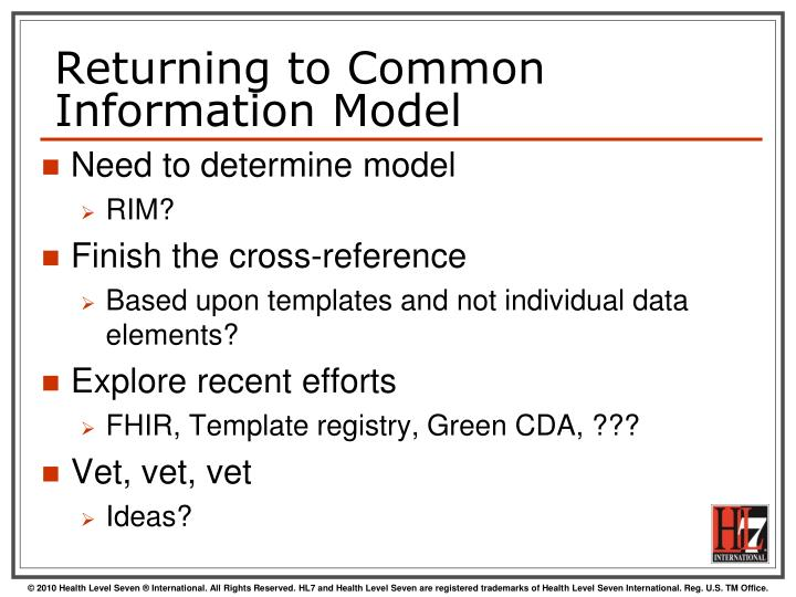 Returning to Common Information Model