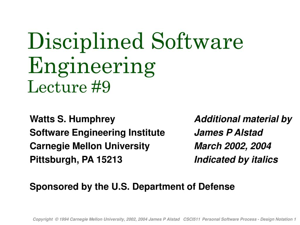 Ppt Disciplined Software Engineering Lecture 9 Powerpoint Presentation Id 5584597