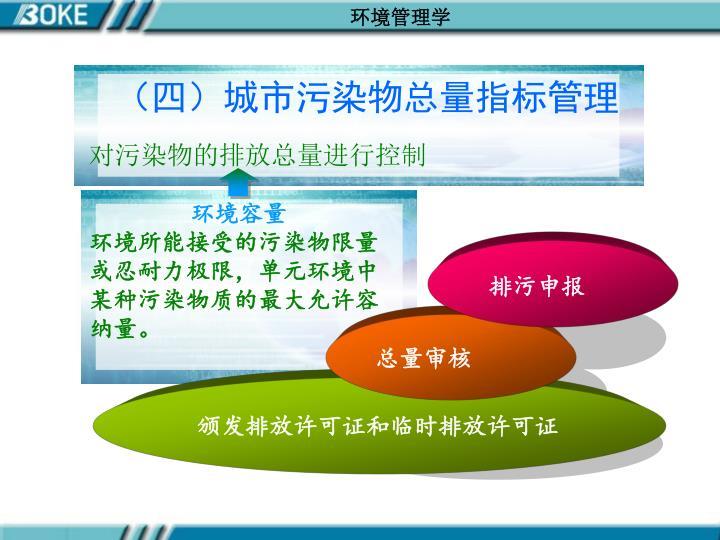 (四)城市污染物总量指标管理