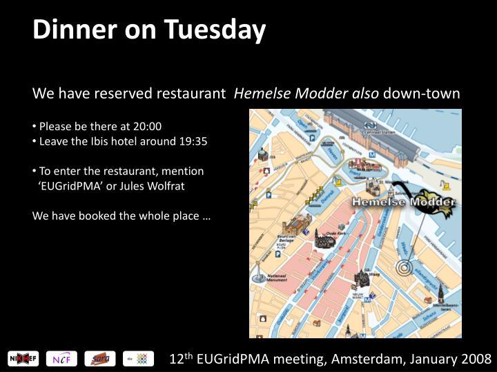 Dinner on Tuesday