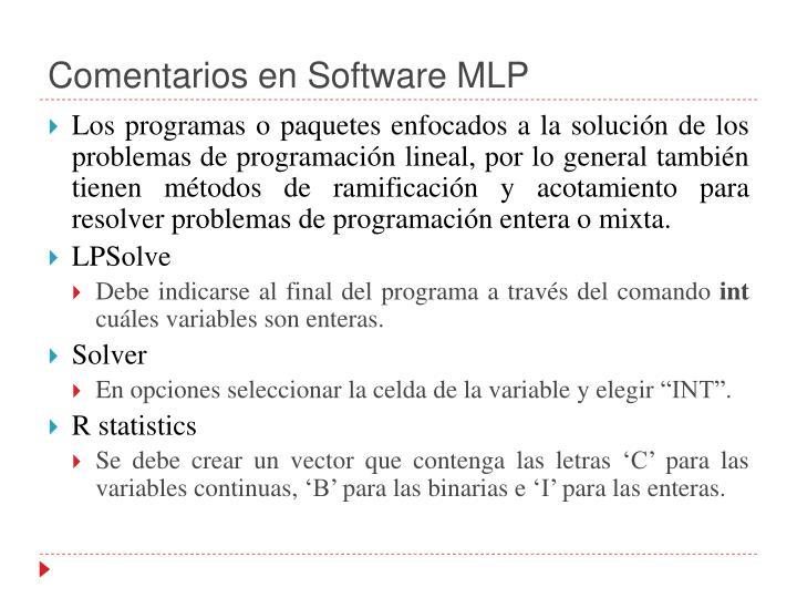 Comentarios en Software MLP