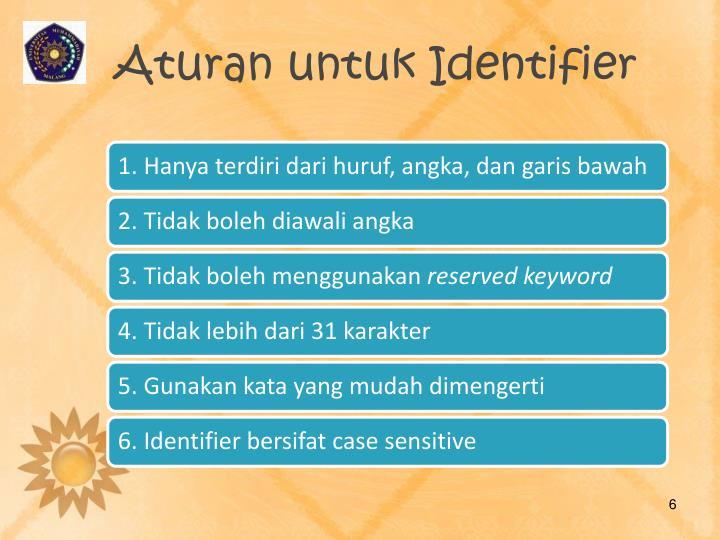 Aturan untuk Identifier