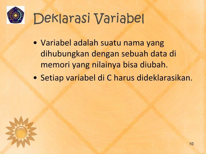 Deklarasi Variabel
