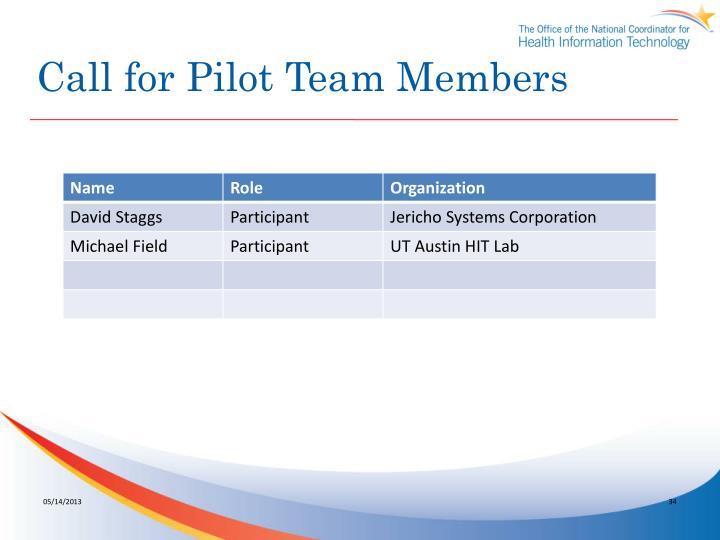 Call for Pilot Team Members