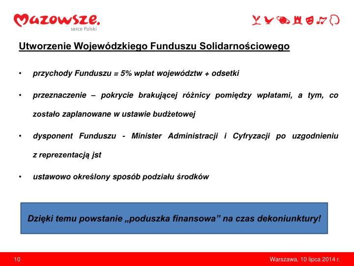 Utworzenie Wojewódzkiego Funduszu Solidarnościowego