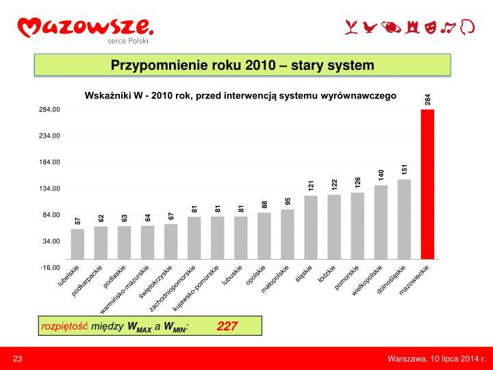 Przypomnienie roku 2010 – stary system