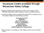 vocational credits available through wenatchee valley college