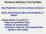 summary statistics one variable