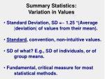 summary statistics variation in values
