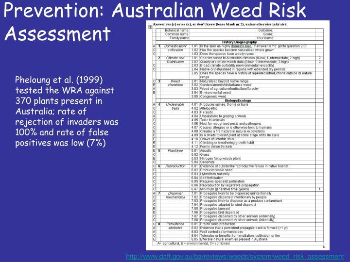 Prevention: Australian Weed Risk Assessment
