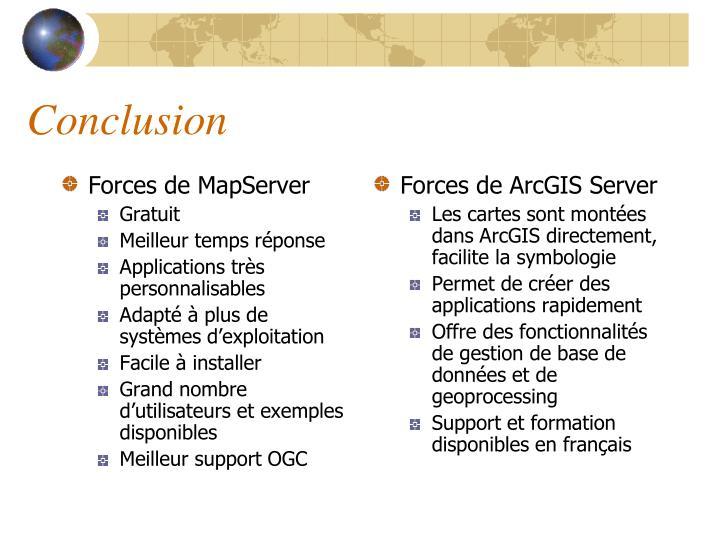 Forces de MapServer