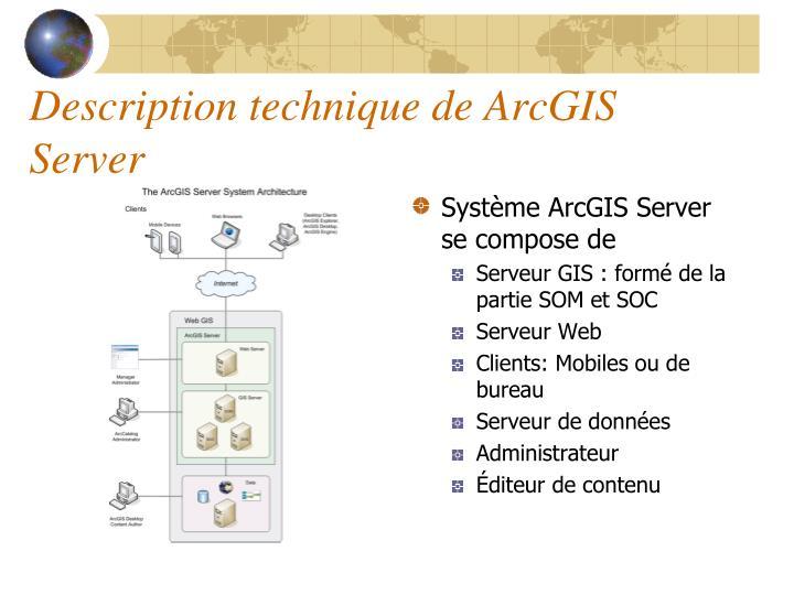 Description technique de ArcGIS Server