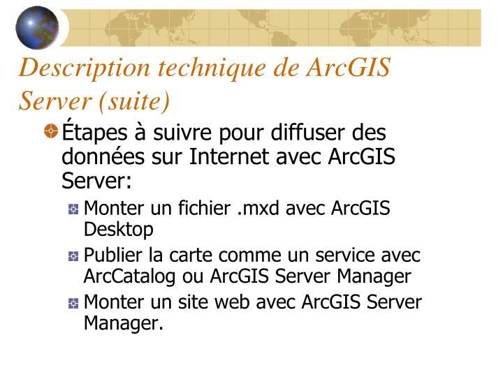 Description technique de ArcGIS Server (suite)