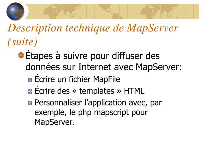 Description technique de MapServer (suite)