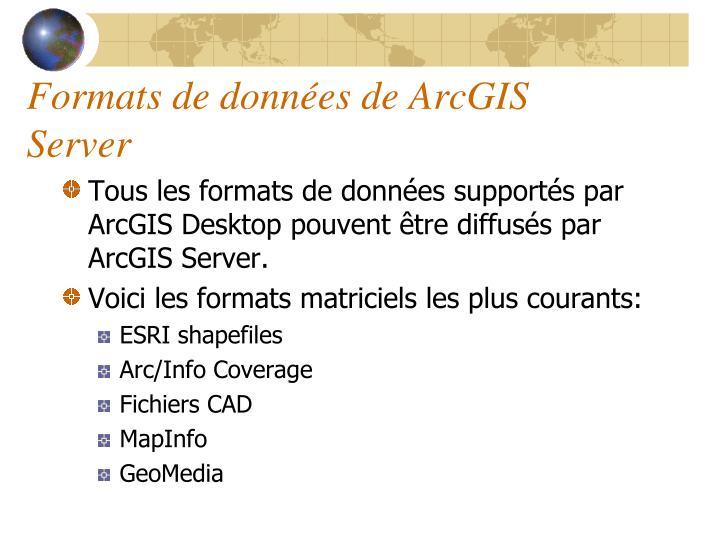 Formats de données de ArcGIS Server