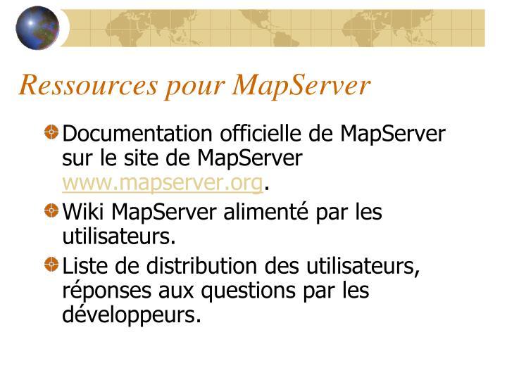Ressources pour MapServer