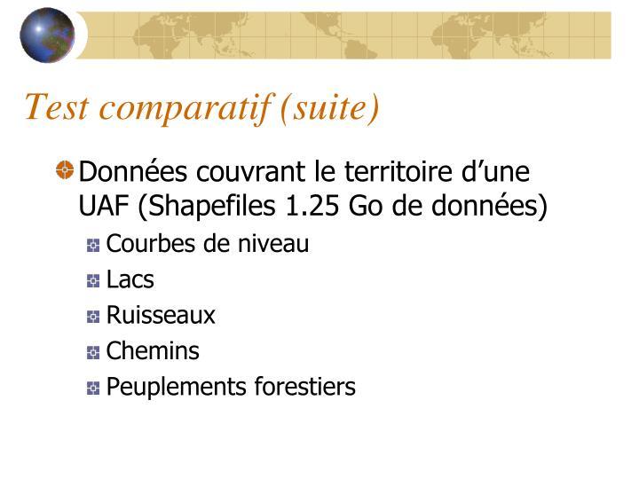 Test comparatif (suite)
