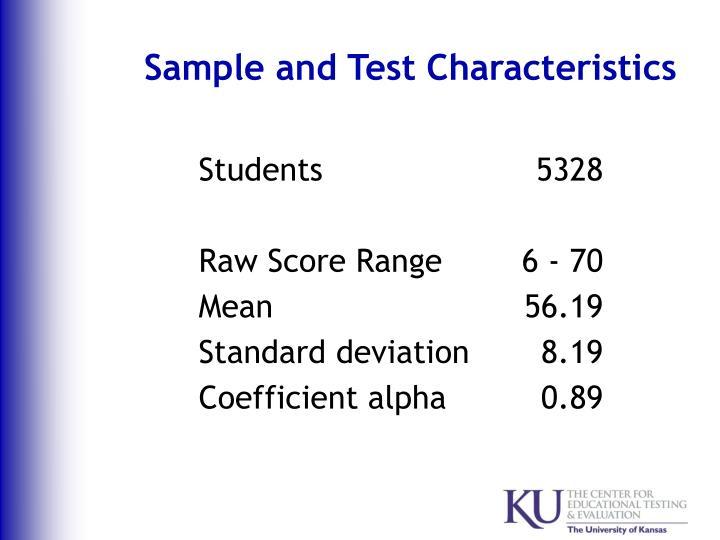 Sample and Test Characteristics