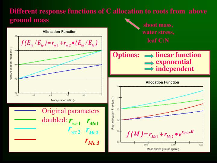 Different response functions of C allocation to roots from  above ground mass