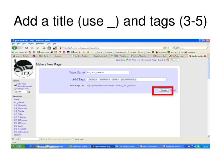 Add a title (use _) and tags (3-5)