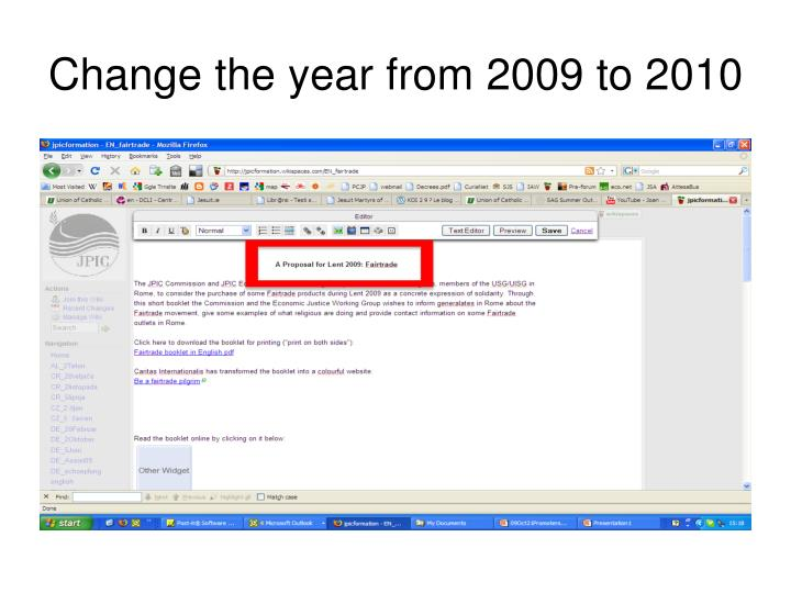 Change the year from 2009 to 2010