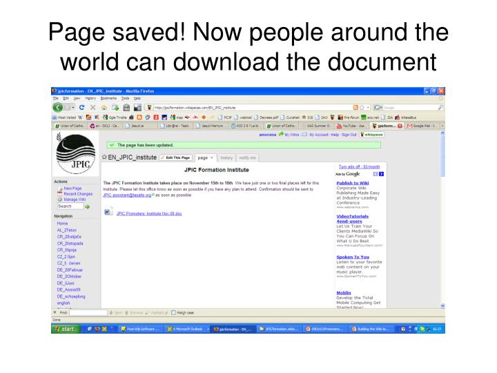 Page saved! Now people around the world can download the document