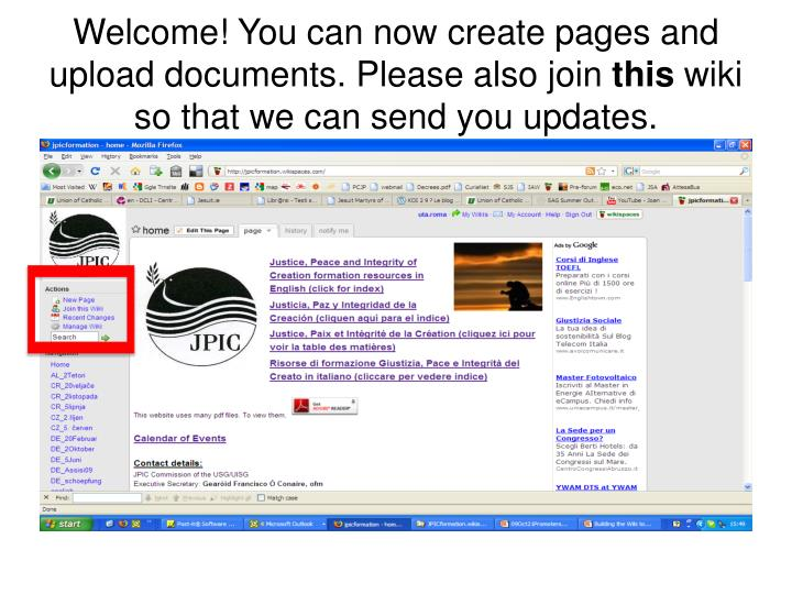 Welcome! You can now create pages and upload documents. Please also join