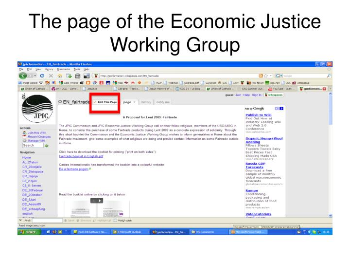 The page of the economic justice working group