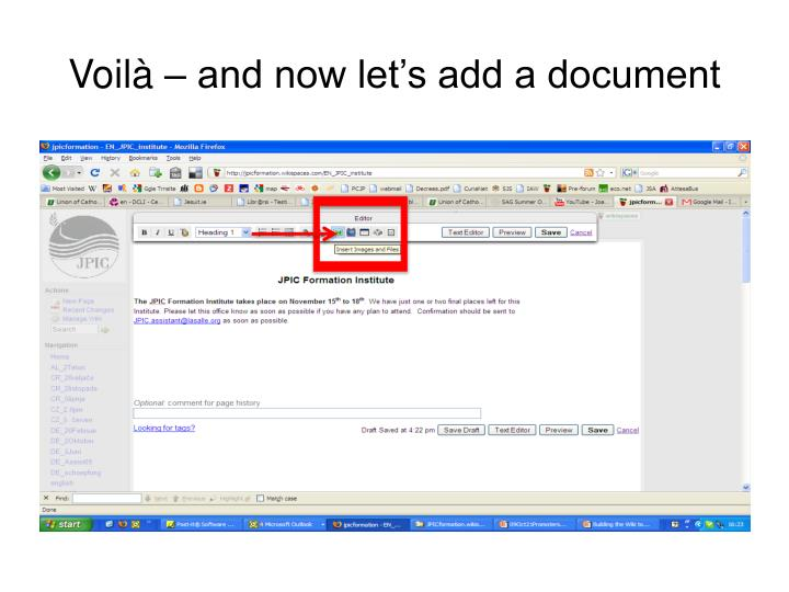 Voilà – and now let's add a document