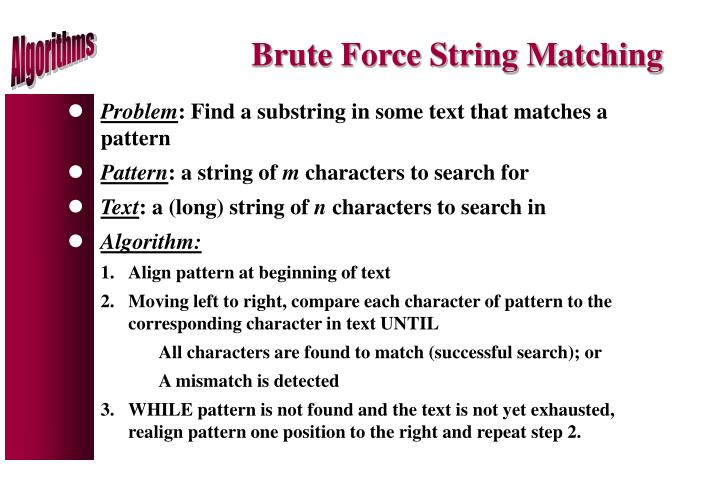 Brute Force String Matching