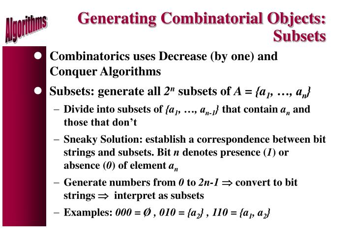 Generating Combinatorial Objects: Subsets