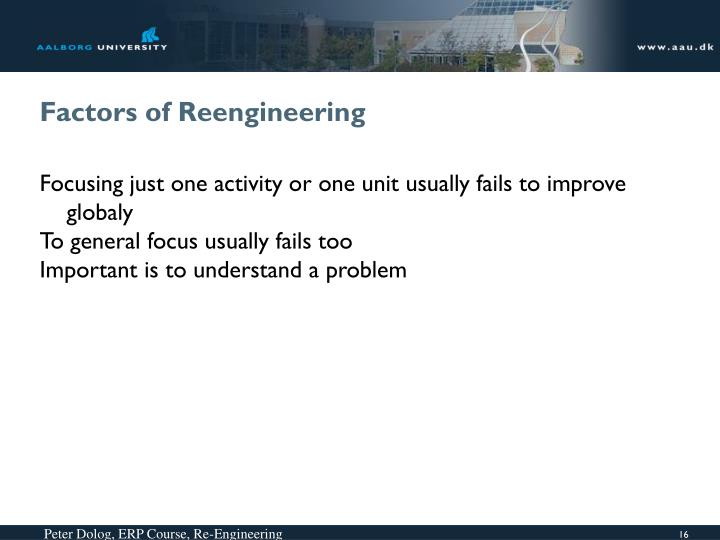 Factors of Reengineering