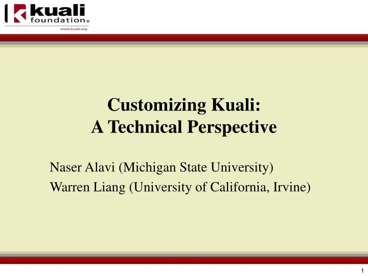 customizing kuali a technical perspective n.