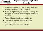 payment request duplication scenario