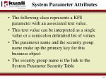 system parameter attributes