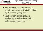system parameter security class table