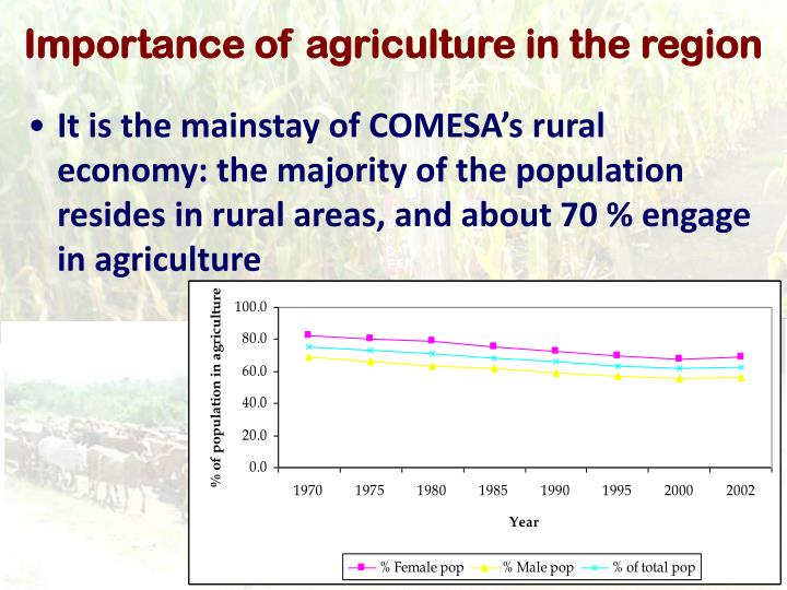 Importance of agriculture in the region