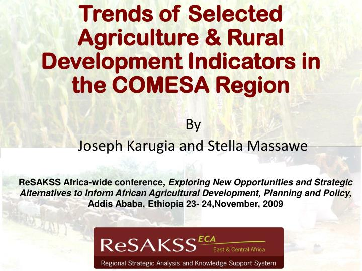 Trends of selected agriculture rural development indicators in the comesa region