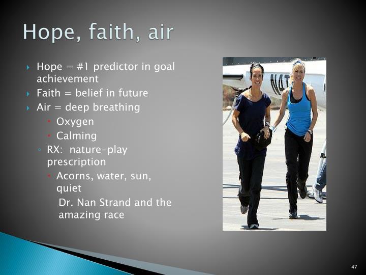 Hope, faith, air