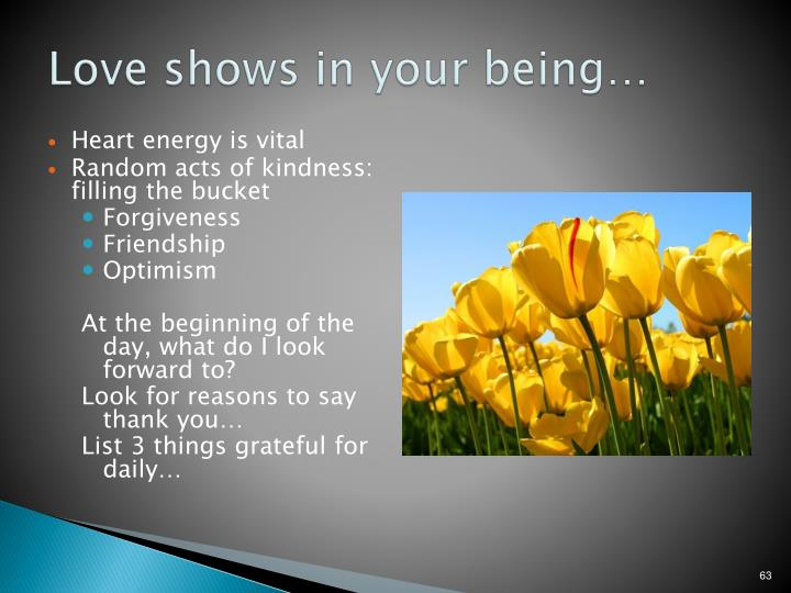 Love shows in your being…