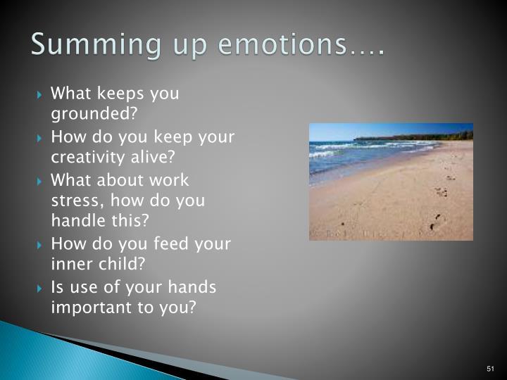 Summing up emotions….